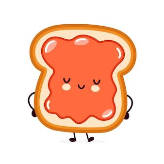 Toast de pain heureux drôle mignon avec caractère de confiture