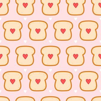 Toast de pain mignon avec motif sans soudure de coeur.