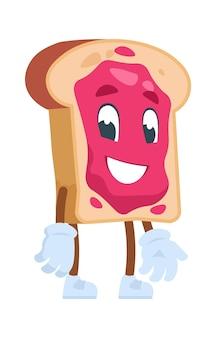 Toast personnage de dessin animé. illustrations vectorielles nourriture de dessin animé mignon. pain grillé avec confiture