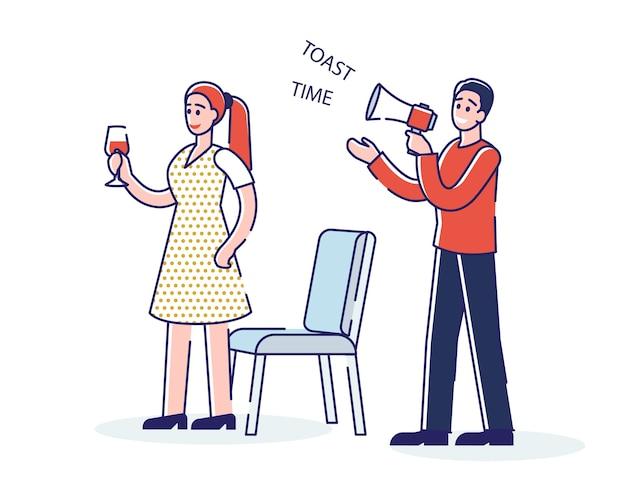 Toast time lors de l'événement de célébration anniversaire ou fête de mariage