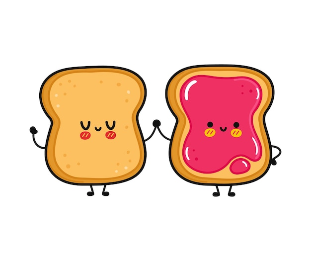 Toast et toast heureux drôles mignons avec le caractère de confiture