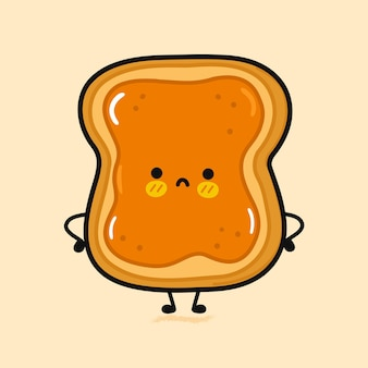 Toast triste mignon avec caractère de beurre de cacahuète