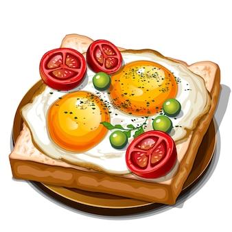 Toast avec vue de dessus de tomates cerises œufs au plat