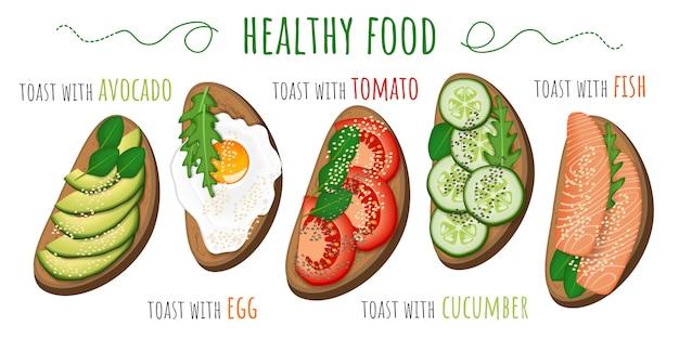 Toasts avec avocat, tomate, oeuf au plat, concombre et poisson