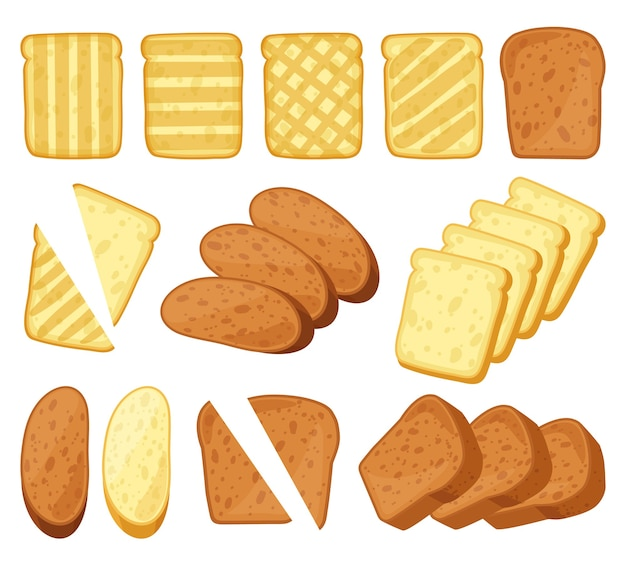 Toasts de dessin animé isolés sur blanc