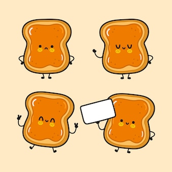 Toasts heureux mignons drôles avec ensemble de personnages au beurre de cacahuète