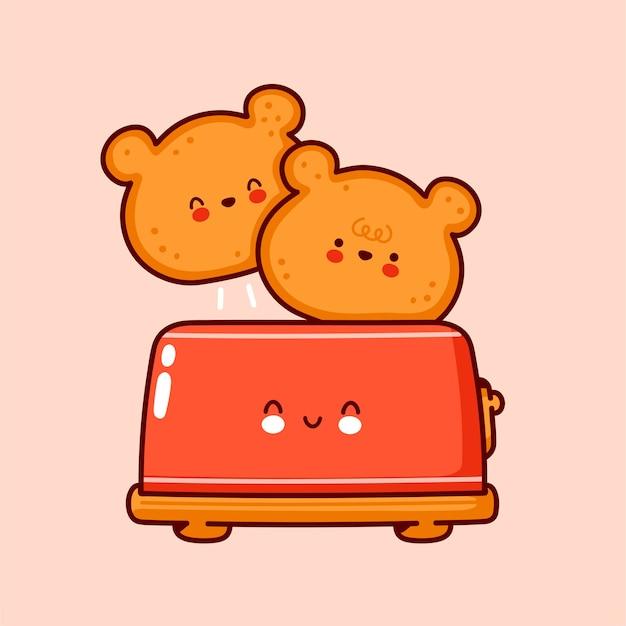 Toasts de visage mignon ours heureux. icône de personnage kawaii dessin animé ligne plate. illustration de style dessiné à la main
