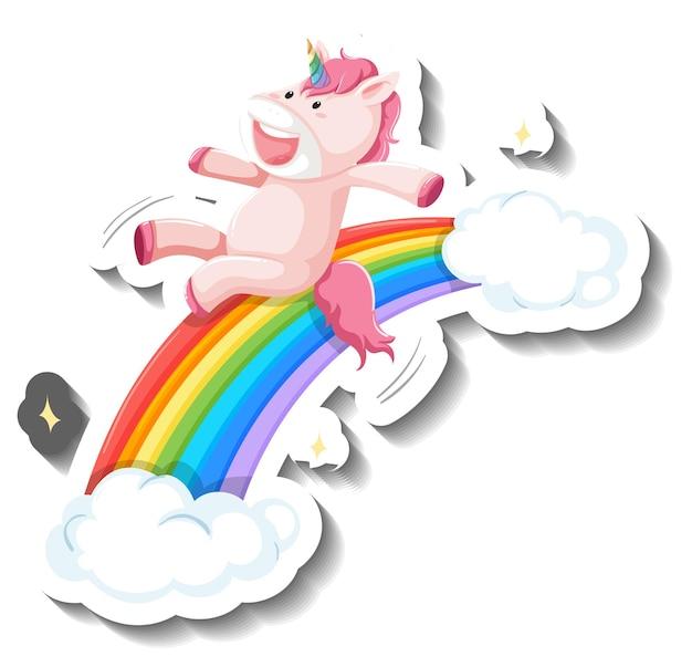 Toboggan mignon de licorne sur l'autocollant de bande dessinée d'arc-en-ciel