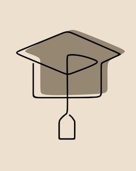 Toga hat education oneline dessin au trait continu