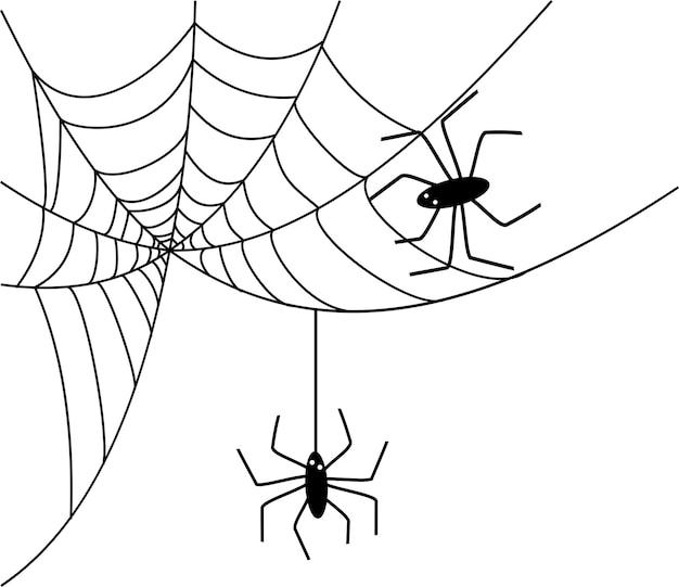 Toile d'araignée noire sur fond blanc, vecteur, symbole d'halloween