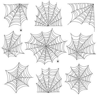 Toile d'araignée. toiles d'araignée et coins de toile fantasmagoriques avec araignée. icônes d'halloween sur blanc