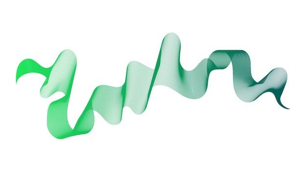 Toile de fond abstraite avec des lignes de dégradé de vague verte sur fond blanc. contexte de la technologie moderne, conception des vagues. illustration vectorielle