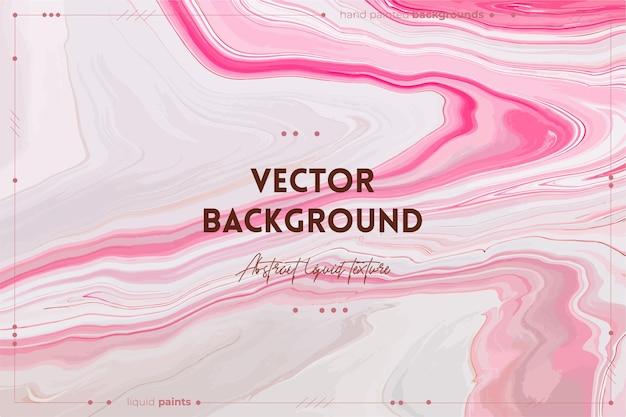 Toile de fond abstraite de vecteur de texture d'art fluide avec l'image acrylique liquide d'effet de peinture tourbillonnante avec des flux et des éclaboussures de peintures mélangées pour la lavande rose d'affiche intérieure et des couleurs débordantes de blanc