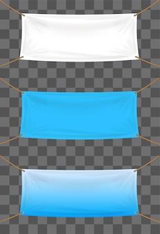 Toile de fond de bannières de vinyle sur fond transparent