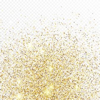Toile de fond de confettis de paillettes d'or isolé sur fond transparent blanc. texture festive avec effet de lumière brillant. illustration vectorielle.
