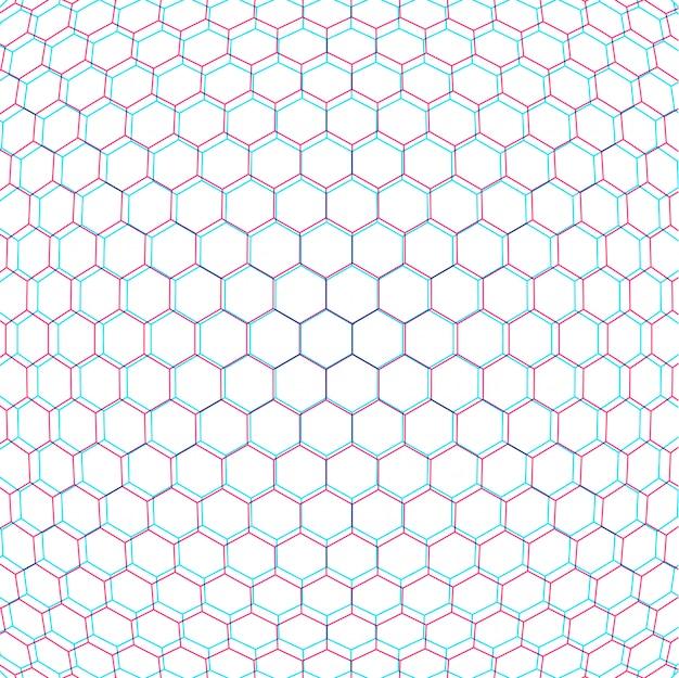 Toile de fond de décoration de fond blanc filet hexagonal anaglif paramétrique