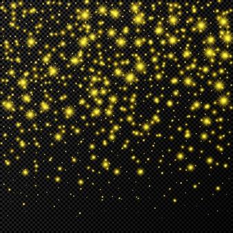 Toile de fond dorée avec des étoiles et des étincelles de poussière isolées sur fond transparent foncé. effet de lumière brillant de noël magique festif. illustration vectorielle.
