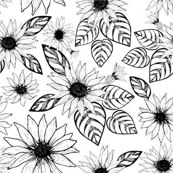 Toile de fond floral noir et blanc