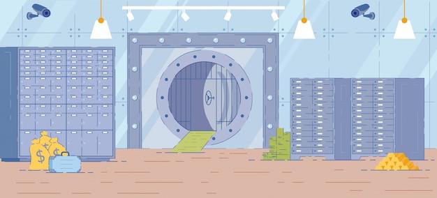 Toile de fond intérieure de la salle de banque avec porte de coffre en métal.