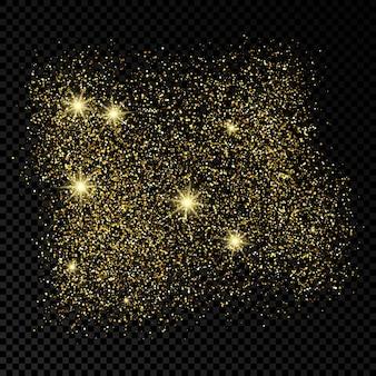 Toile de fond scintillante dorée sur fond transparent foncé. arrière-plan avec effet de paillettes d'or et espace vide pour votre texte. illustration vectorielle
