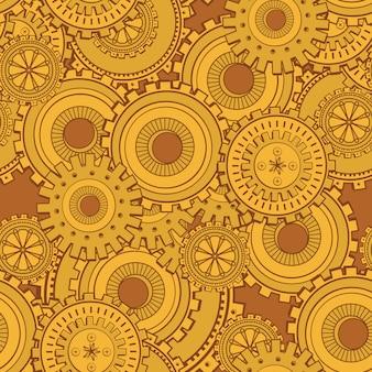 Toile de fond technologie engrenages en fer doré