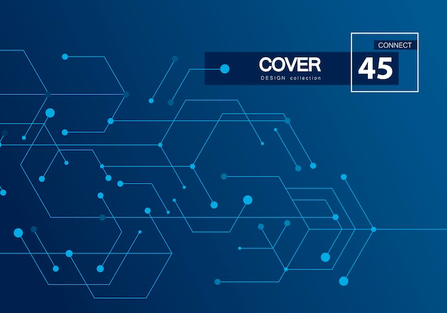 Toile de fond de la technologie numérique. concept numérique futuriste de vecteur. modèle de motif blanc. fond géométrique bleu. réseau de connexion internet haute technologie numérique.