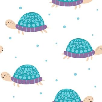 Toile de fond tortues dessinés à la main modèle sans couture avec des tortues modèle avec des reptiles d'animaux