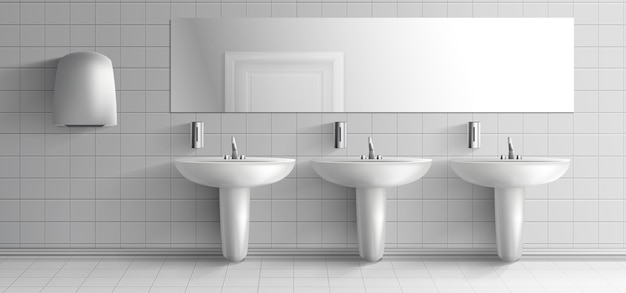 Toilette publique minimaliste 3d maquette vectorielle réaliste intérieur. rangée de lavabos en céramique avec robinet en métal, distributeurs de savon, séchoir à mains et long miroir sur une illustration de mur à plis blanc