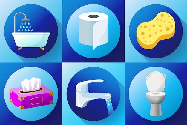 Toilette, robinet d'eau, serviettes, papier hygiénique, serviettes, douche, gant de toilette et éponge de bain,