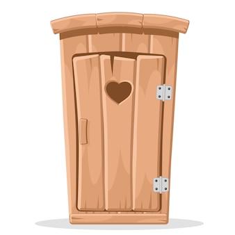 Toilettes en bois avec un cœur sculpté dans la porte sur un fond blanc.