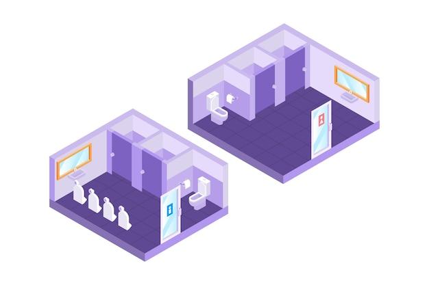 Toilettes publiques isométriques (hommes et femmes)