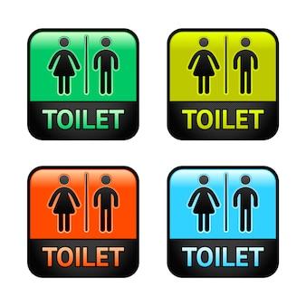 Toilettes - symboles de jeu de couleurs