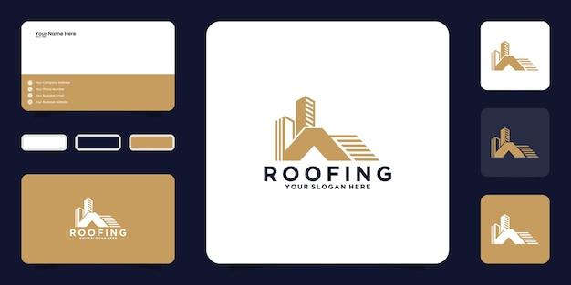 Le toit de la maison et le logo du bâtiment avec inspiration carte de visite