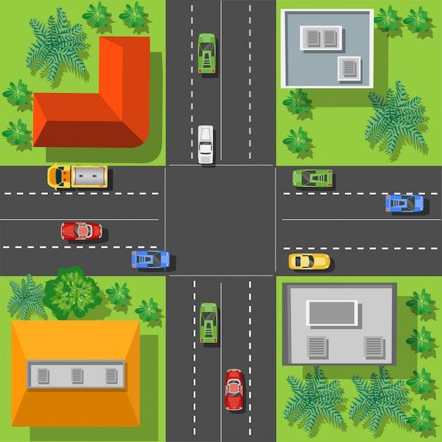 Toits de l'intersection de la ville
