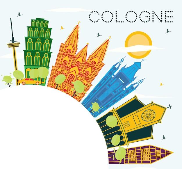 Toits de la ville de cologne allemagne avec bâtiments de couleur, ciel bleu et espace de copie. illustration vectorielle. concept de voyage d'affaires et de tourisme avec architecture historique. paysage urbain de cologne avec des points de repère.