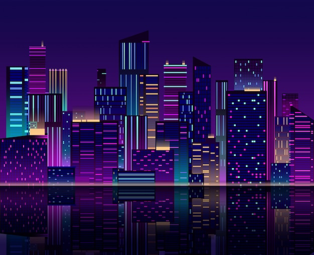 Toits de la ville de nuit. gratte-ciel avec des néons. paysage urbain avec des bâtiments. rétro années 80