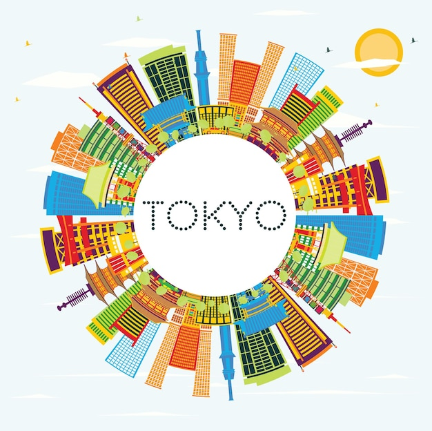 Toits de la ville de tokyo japon avec bâtiments de couleur, ciel bleu et espace de copie. illustration vectorielle. concept de voyage d'affaires et de tourisme à l'architecture moderne. paysage urbain de tokyo avec des points de repère.