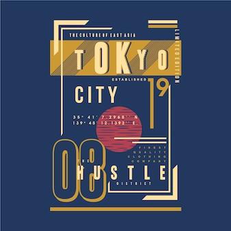 Tokyo city hustle text frame conception de typographie graphique