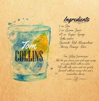 Tom collins cocktails aquarelle kraft