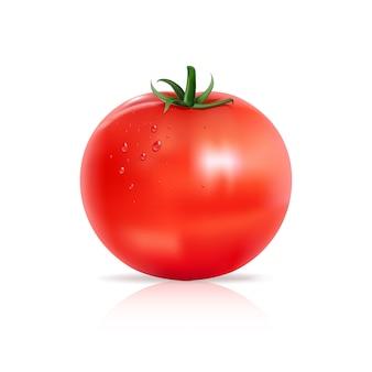 Tomate avec des gouttes d'eau.