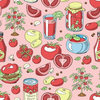 Tomate modèle sans couture tomates juteuses sauce alimentaire ketchup soupe et pâte avec illustration de toile de fond de légumes rouges frais ingridients organiques pour le régime alimentaire des végétariens
