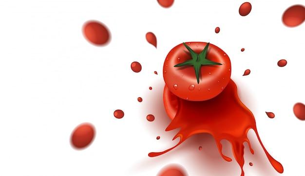 Tomate en tranches et éclaboussures de tomates sur fond