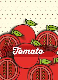 Tomate végétale sur le fond pointillé