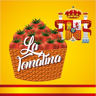 La tomatina panier tomates rouges drapeau couronnes espagne