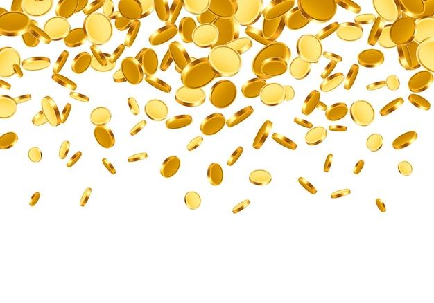 Tombant du haut beaucoup de pièces sur fond blanc. illustration vectorielle
