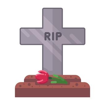 Tombe fraîche avec une croix en pierre. illustration vectorielle plane.