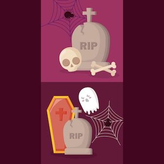 Tombeaux, à, halloween, concept