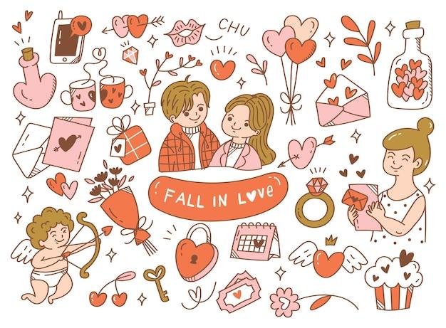Tomber amoureux des couples doodle
