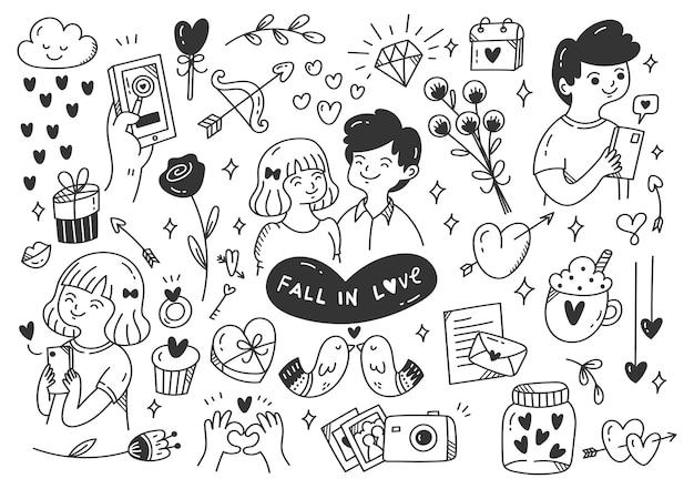 Tomber amoureux illustration de griffonnage de couples