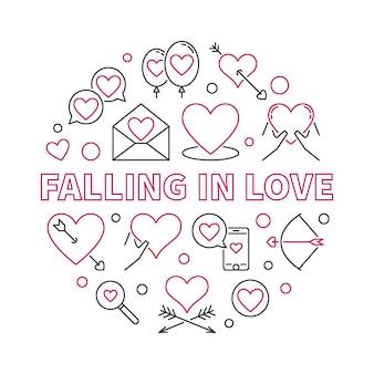 Tomber amoureux ronde contour icône illustration